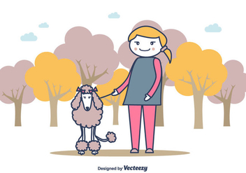 Girl And A Poodle Illustration Background - vector gratuit #441121