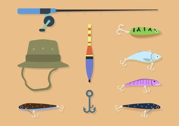 Flat Fishing Element Vectors - Free vector #441171