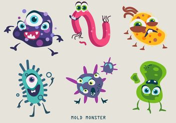 Mold Bacteria Monster Character Vector Illustration - Free vector #441221