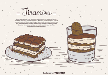 Hand Drawn Tiramisu Vector Background - vector gratuit #441301