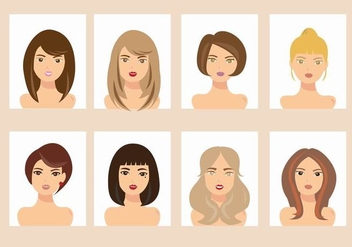 Woman with Different Hair Style Avatar Vectors - бесплатный vector #441331