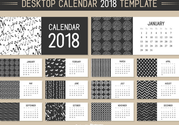 Monthly Desktop Calendar 2018 Vector Template - Kostenloses vector #441381