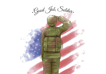 Watercolor American Flag And Veteran American Soldier - vector gratuit #441391