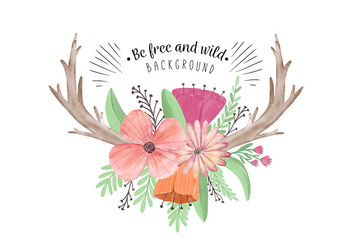 Cute Boho Flowers Leaves And Horns - Free vector #441441