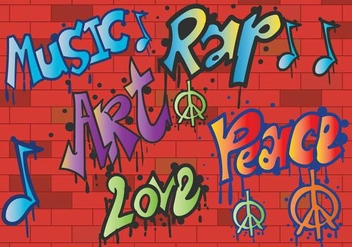 Grafiti peace and love vector - Free vector #441471