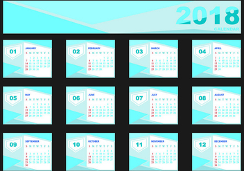 Design Template Of Desk Calendar 2018 - vector #441531 gratis