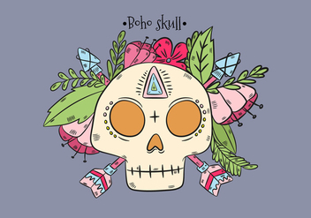 Boho Skull With Leaves And Pink Flowers And Arrows - Kostenloses vector #441551