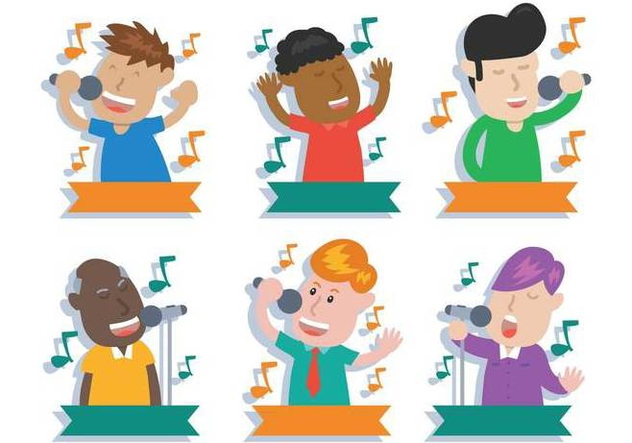 People singing vector illustration set - Free vector #441561