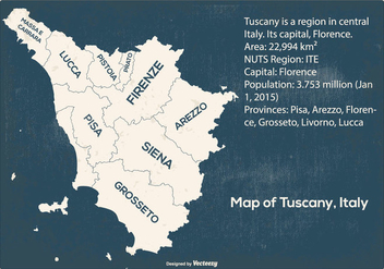 Grunge Map of Tuscany Italy - Free vector #441651