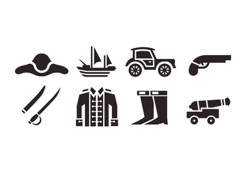 Colonial vector icons - vector #441691 gratis