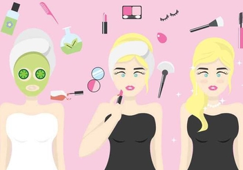 Woman Getting Dressed Up Vector Illustration - vector gratuit #441801