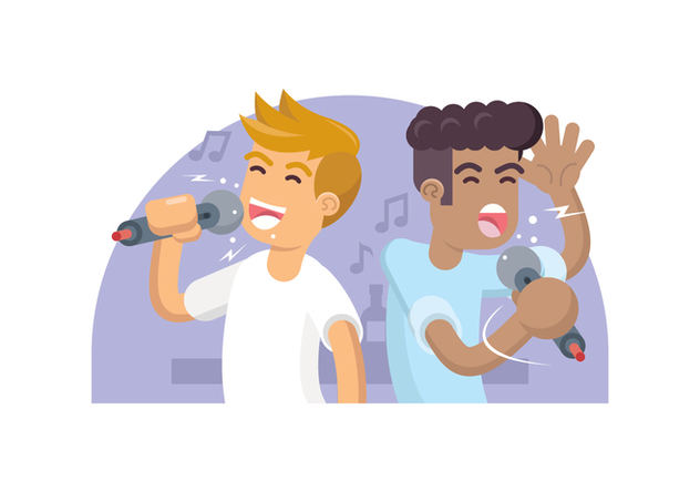 Two Friends Singing Karaoke Illustration - Free vector #441891