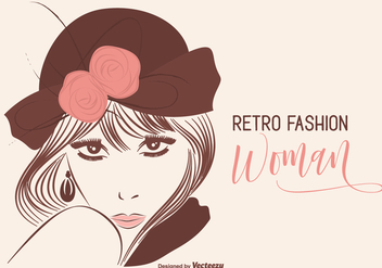 Woman Retro Fashion Portrait Vector Illustration - Kostenloses vector #441901