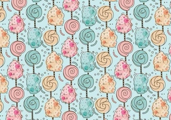 Sweet Pattern Candy Floss Vector - vector gratuit #441921