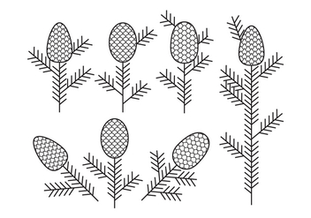 Flat Outline Pine Cones elements. - бесплатный vector #441961