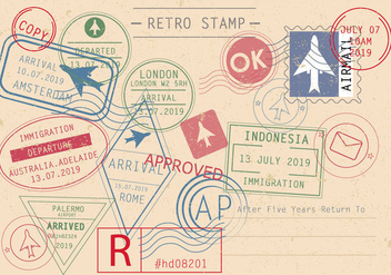 Set Of Retro Stamp Vectors - Free vector #442031