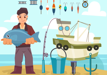 Fisherman With Boat and Equipment Vector - Free vector #442051