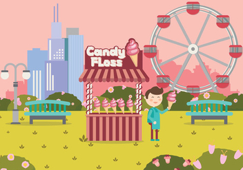 Candy Floss Cart Shop In Playground Vector Illustration - Free vector #442241