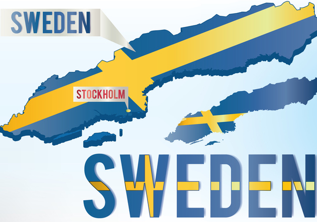 Flag Map Of Sweden - vector gratuit #442421
