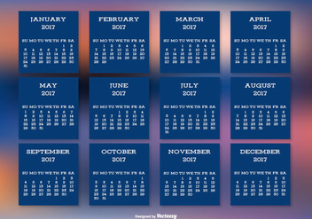 2017 Calendar on Beautiful Blurred Background - vector gratuit #442511
