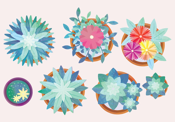 Vector Watercolor Potted Flowers Collection - бесплатный vector #442591