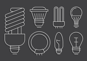 Linear Light Bulb Set - vector #442601 gratis