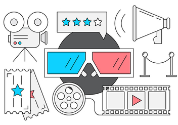 Free Cinema Icons in Linear Style - Free vector #442611