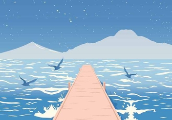 Boardwalk on the Sea Vector Illustration - бесплатный vector #442761