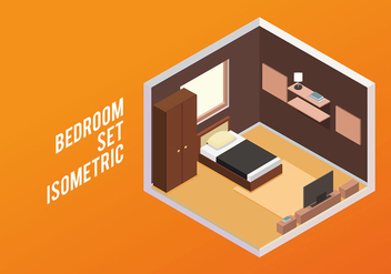 Bedroom Set Isometric Free Vector - Free vector #442781