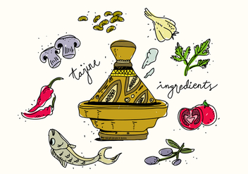 Traditional Tajine Food Ingredients Hand Drawn Vector Illustration - Free vector #442791