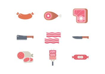Meat Products Icon Set - бесплатный vector #442811