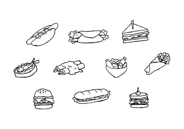 Free Sandwich Collection Sketch Vector - Free vector #442821