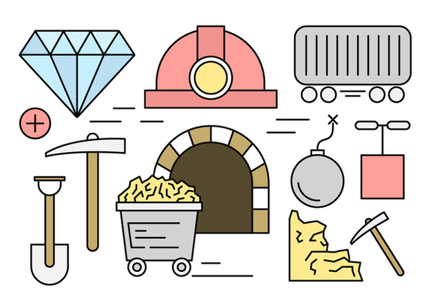 Free Linear Mining Icons - vector gratuit #442931