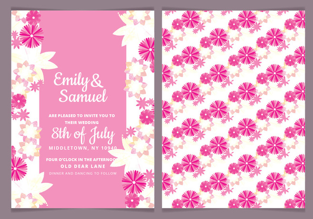 Vector Watercolor Floral Wedding Invite - vector #442951 gratis