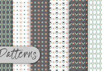 Cute Geometric Decorative Pattern Set - vector #442971 gratis