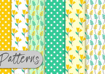 Yellow Mint Floral Pattern Set - бесплатный vector #443001