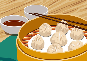 Chinese Steamed Dumplings - vector gratuit #443211