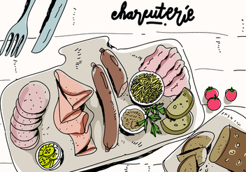 Charcuterie Cooking Ingredient Meat Hand Drawn Vector Illustration - vector #443221 gratis
