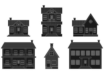 Colonial house vector set - vector gratuit #443271