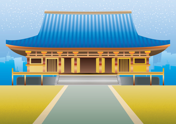 Martial Art Dojo Building Illustration - vector gratuit #443291