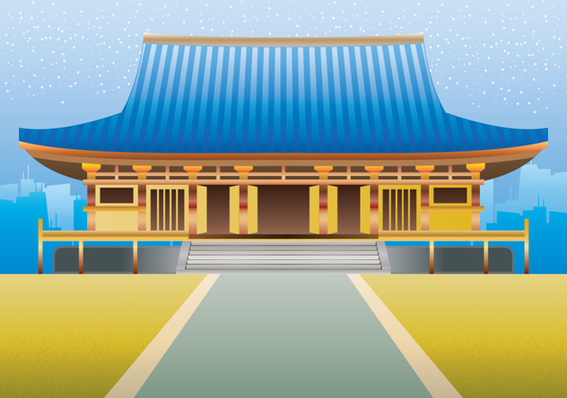 Martial Art Dojo Building Illustration - Free vector #443291