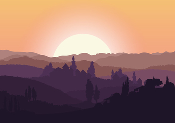 Beautiful Tuscany Landscape - бесплатный vector #443311