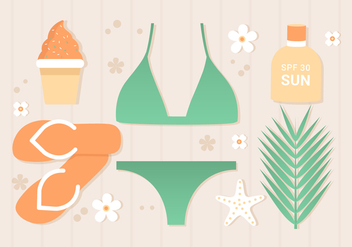 Free Flat Tropical Summer Background - бесплатный vector #443411