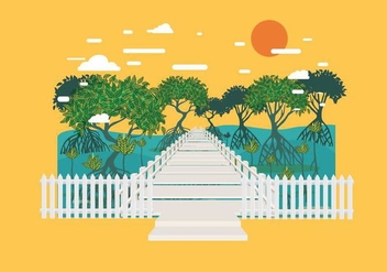 Boardwalk in Mangrove Forest Vector - Free vector #443421