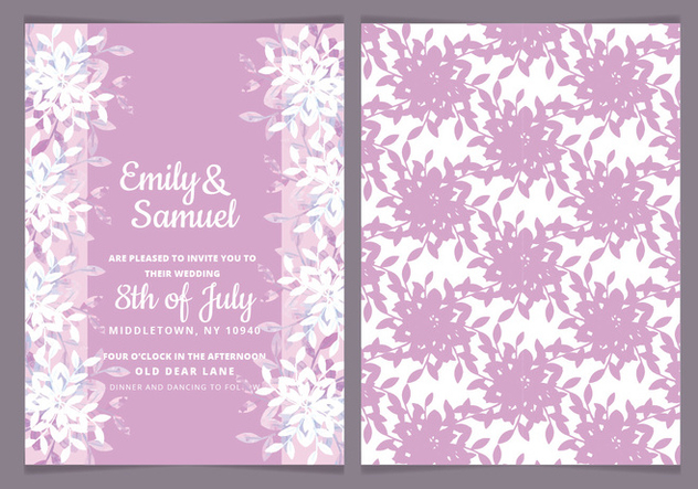 Vector Feminine Watercolor Wedding Invite - vector #443441 gratis