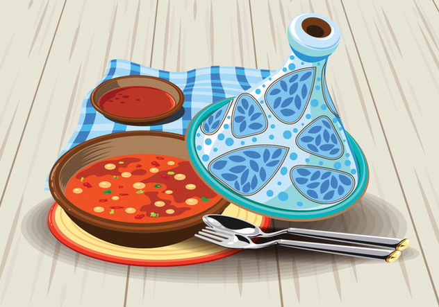Illustration of Sambal Chicken Tajine Served with Olives, in a Rustic Beautiful Tagine Pot - бесплатный vector #443461