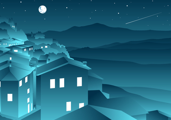 Shooting Star In Tuscany Free Vector - vector gratuit #443571