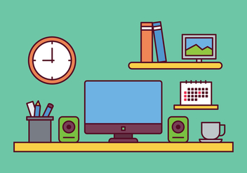 Workspace Illustration Vector - vector #443581 gratis
