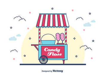Candy Floss Machine Vector Background - бесплатный vector #443591