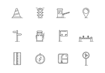 Outline Traffic Icons - бесплатный vector #443621